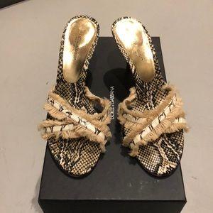 Dolce and Gabbana Snakeskin Kitten Mule